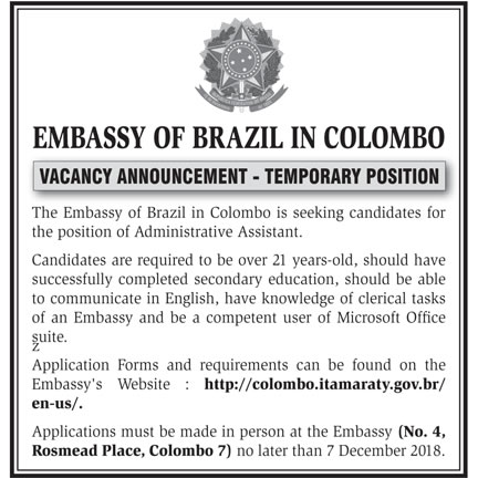 Administrative Assistant - Embassy of Brazil in Colombo