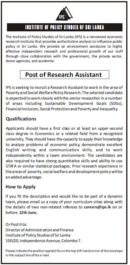 Research Assistant - Institute of Policy Studies of Sri Lanka